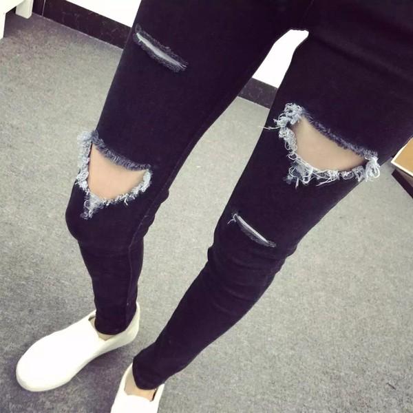 ◐◑  超顯瘦彈力大破洞水洗牛仔褲小腳鉛筆褲女破洞百搭牛仔褲顯瘦女生長褲牛仔長褲刷破