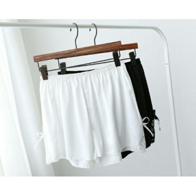 ( ) 真絲質料下擺蝴蝶結蕾絲內搭褲裙安全褲睡褲