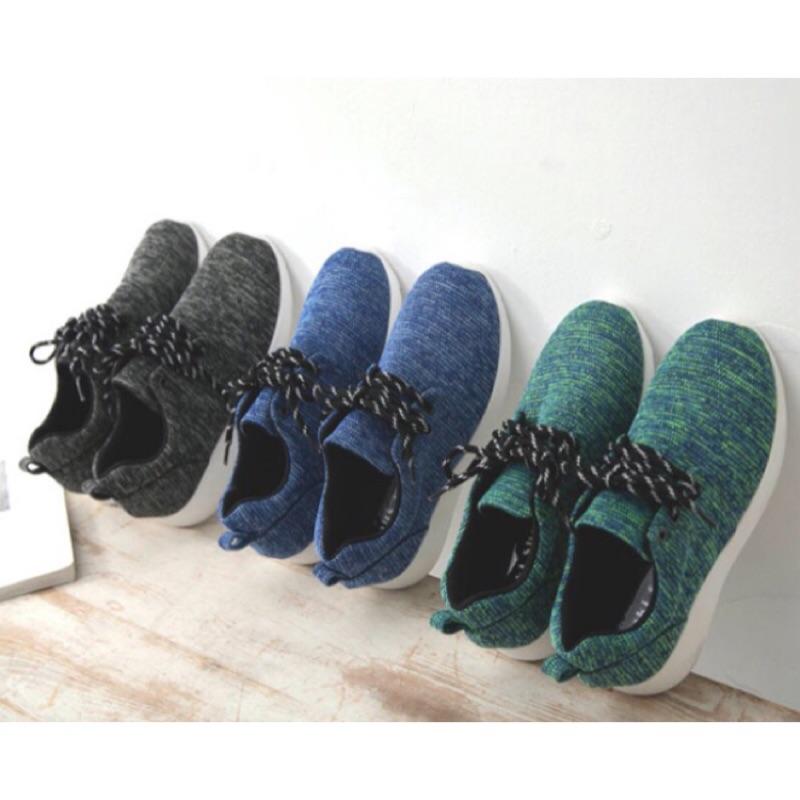 超級輕慢跑鞋韓混色編織學院綁帶厚底休閒包鞋