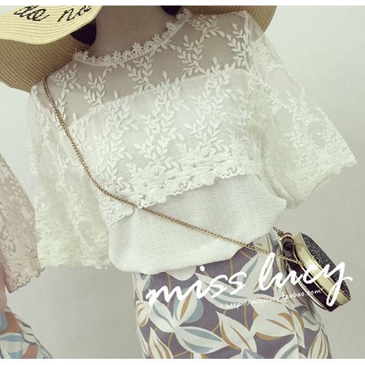 蕾絲洋裝 甜美拼接紗網繡花寬鬆顯瘦短袖襯衫雪紡衫上衣