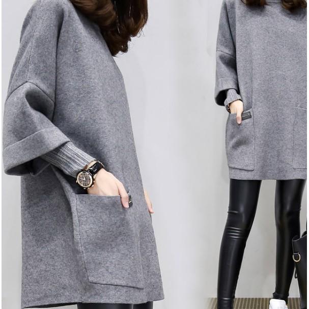 TS 大學T 衛衣女套頭秋裝大碼女裝寬鬆拼接200 斤胖mm 假兩件外套
