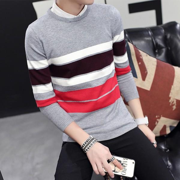 修身輕便休閒款毛衣粗條紋拚色針織衫青少年襯衫長袖T 恤