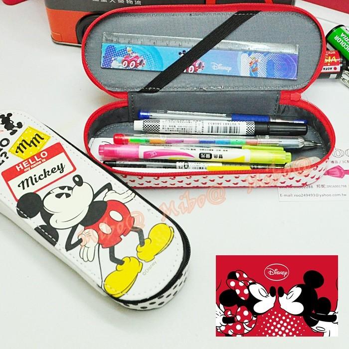 迪士尼米奇米妮帆布筆盒眼鏡盒米奇米妮立體筆盒圓形收納盒文具盒拉鍊包筆袋