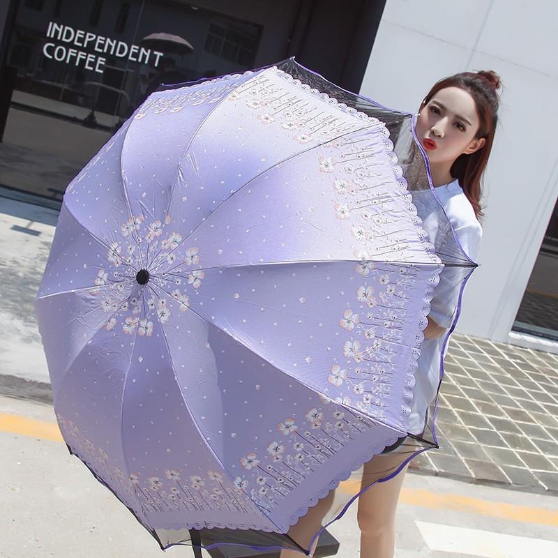晴雨傘折疊 黑膠傘韩系 太陽伞女士时尚黑纱波浪伞边遮陽傘防曬防紫外线三折手动雨伞