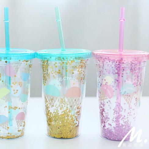 M 雜貨韓夏日水果PARTY 雙層隔熱塑料水杯辦公室療育 杯子日韓雜貨居家冷水壺~MO43