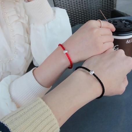 925 純銀轉運珠紅繩手鍊男女本命年情侶手鏈月老紅繩銀飾品生日情人節