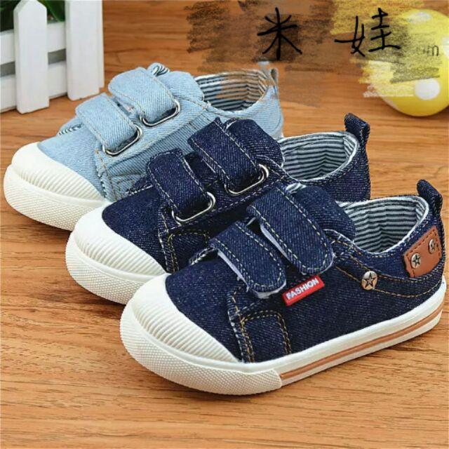 2016 1 3 歲男女中小童牛仔帆布鞋耐磨純色單鞋 休閒鞋