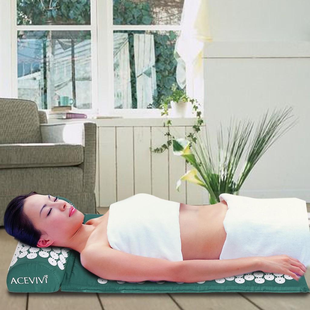 高檔針灸按摩墊指壓板腳底按摩墊足底足部按摩走毯瑜伽墊小冬筍帶枕頭