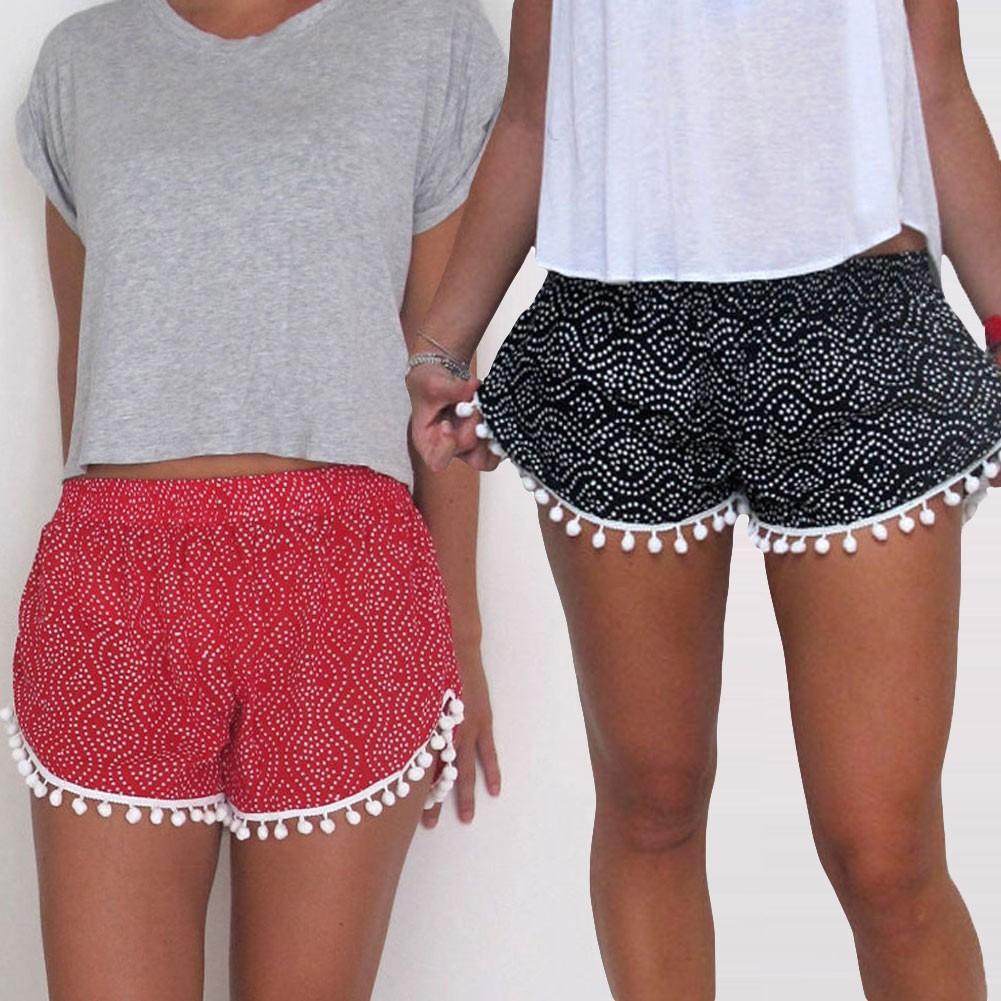 歐洲 女款海灘短褲彈性腰性感褲子