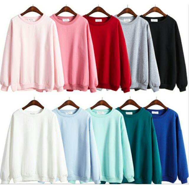 圓領素色內刷毛高 大學T 長袖上衣今年 10 色百搭買衣服找我們!