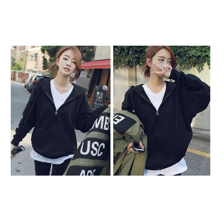 ◆韓國 外套加絨衛衣女帶帽拉鍊開衫學生 潮寬鬆厚學院風bf