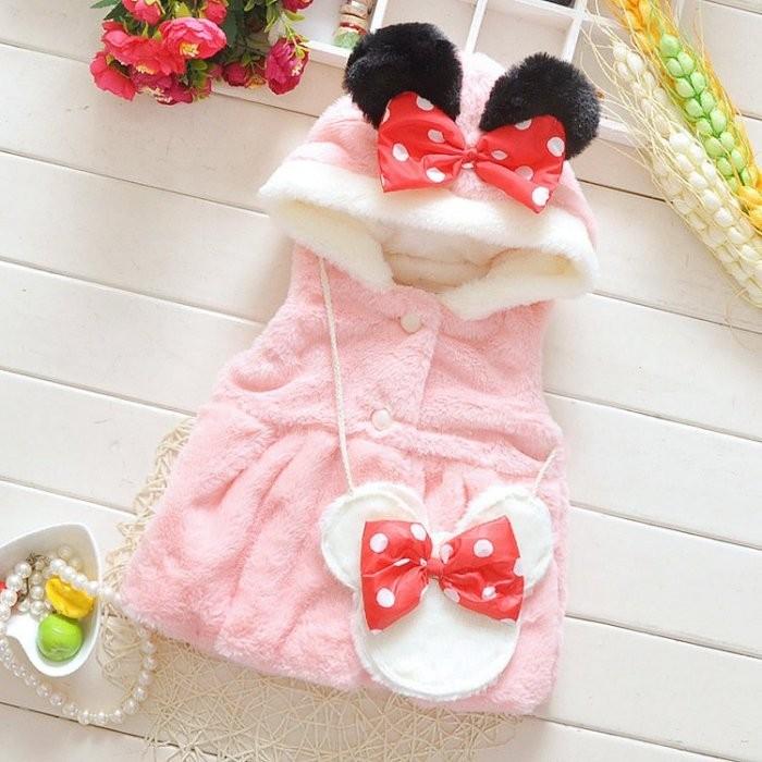 ~甜心貝比~~零碼特售3 碼~ 小童 可愛米老鼠 連帽厚版絨毛馬甲~SW0188 ~粉色