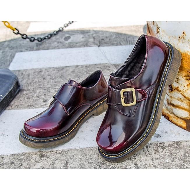 學院漆皮小皮鞋女英倫風複古牛津鞋女皮帶扣圓頭厚底平底單鞋