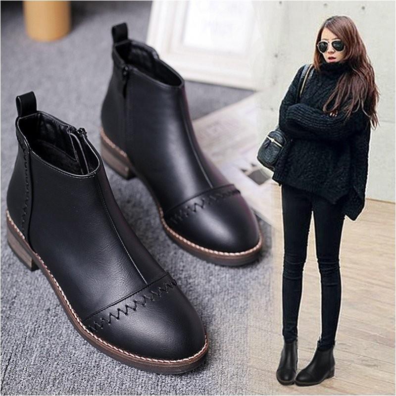 ~明星同款~粗跟短靴女春秋單靴2016  馬丁靴女英倫風中跟裸靴黑色靴子