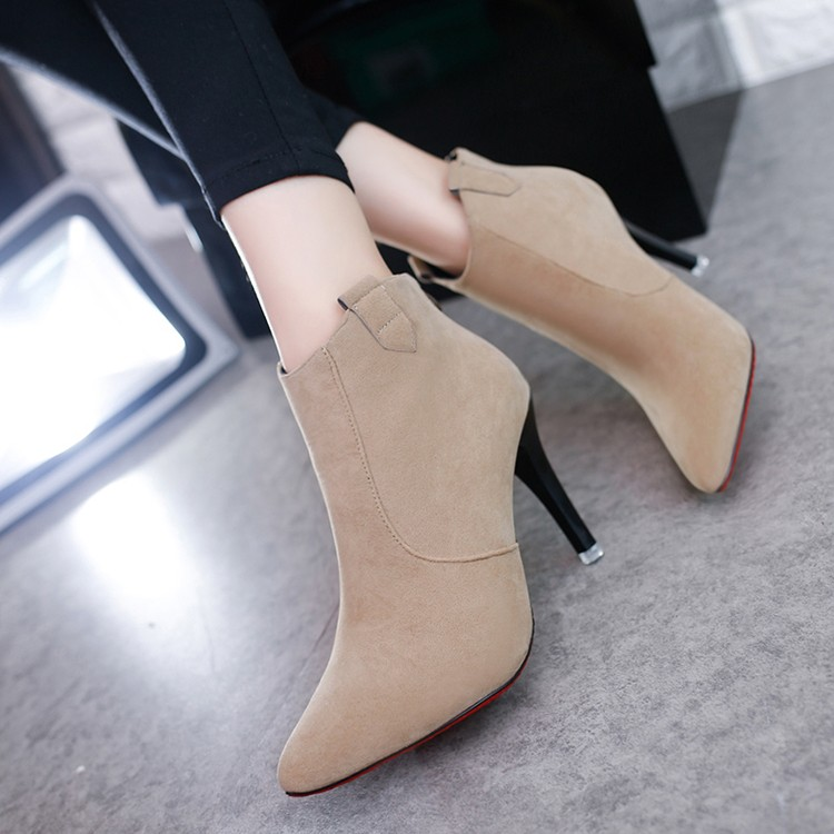 ~ 裝扮~ 細跟高跟鞋2016  女單鞋英倫女靴子高跟細跟短靴女鞋尖頭馬丁靴裸靴潮