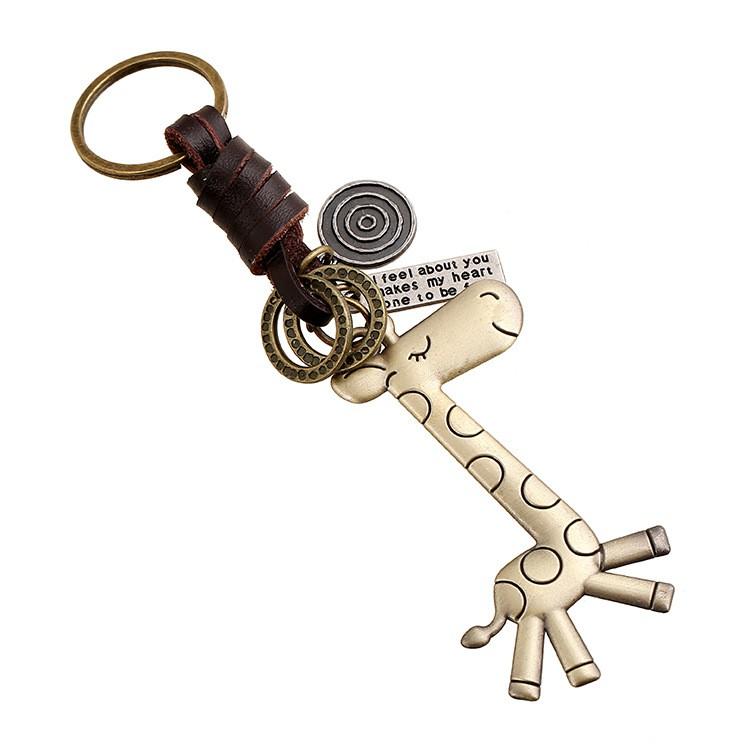 鑰匙扣男女小 合金可愛長頸鹿復古編織牛皮鑰匙扣鑰匙鏈