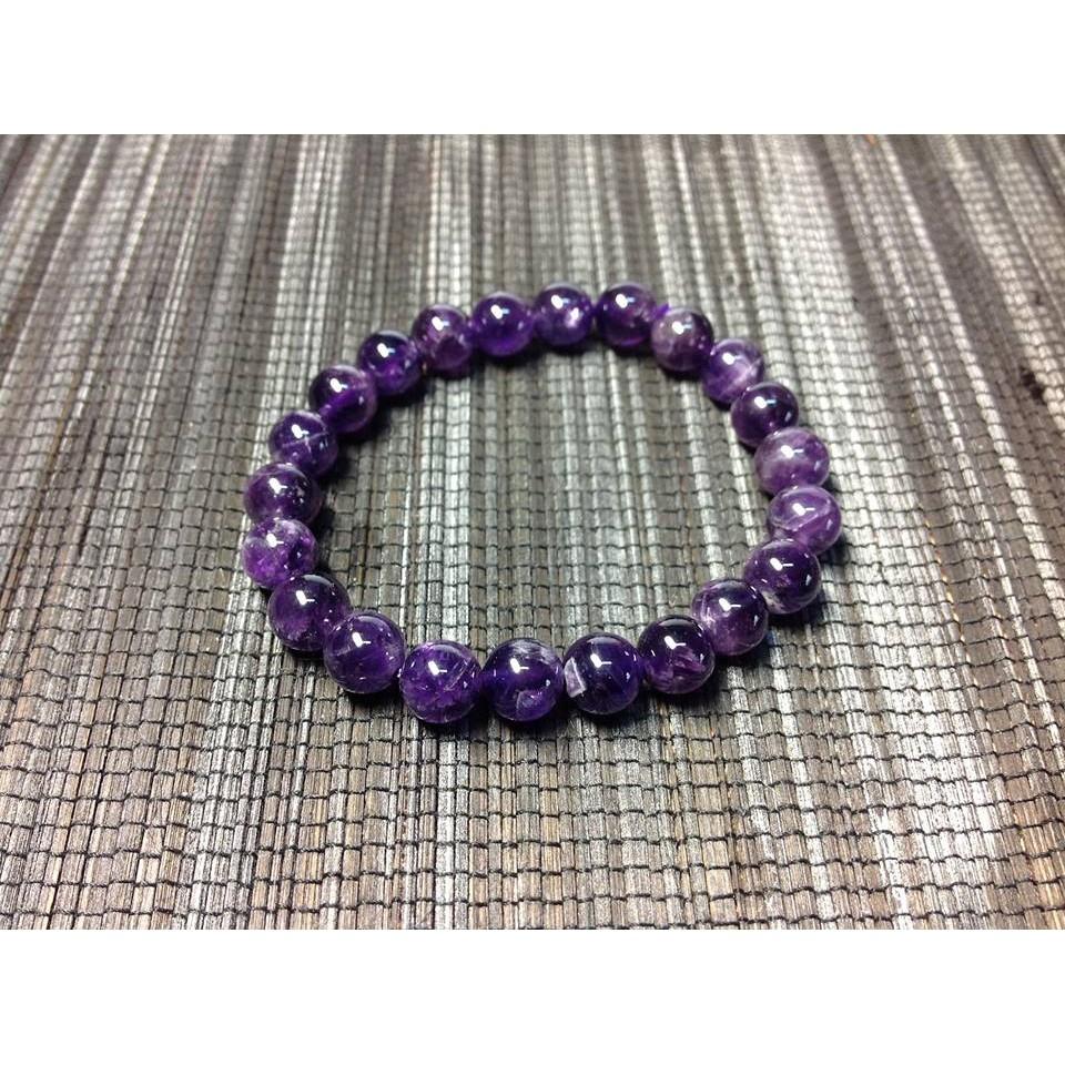 8mm 天然正料紫水晶手鍊開智慧風水之石 天然水晶