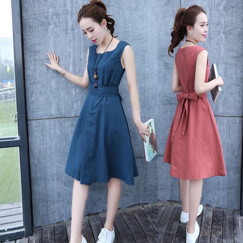 奈兒連衣裙 棉麻連衣裙中長款修身顯瘦收腰透氣連衣裙