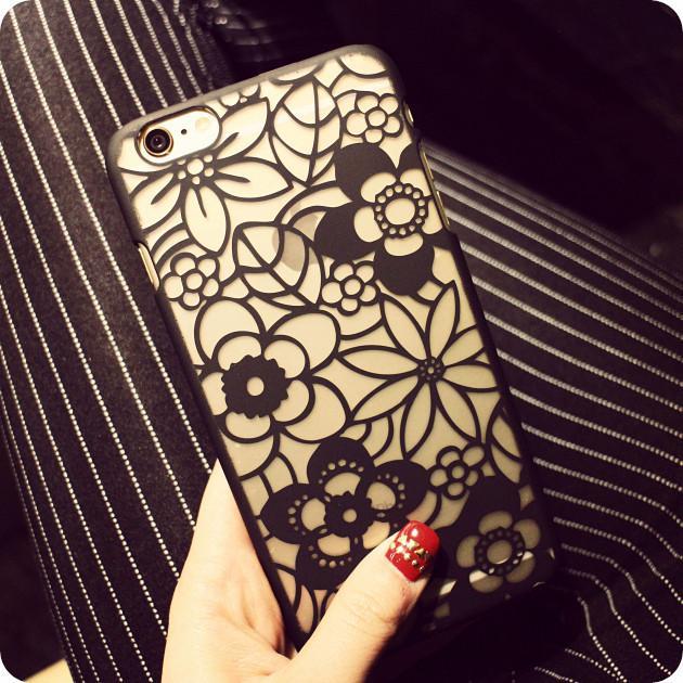 〖鎂殼〗 蕾絲透明硬殼iPhone7 6s 6 Plus i6 i5 5S SE 黑色白色