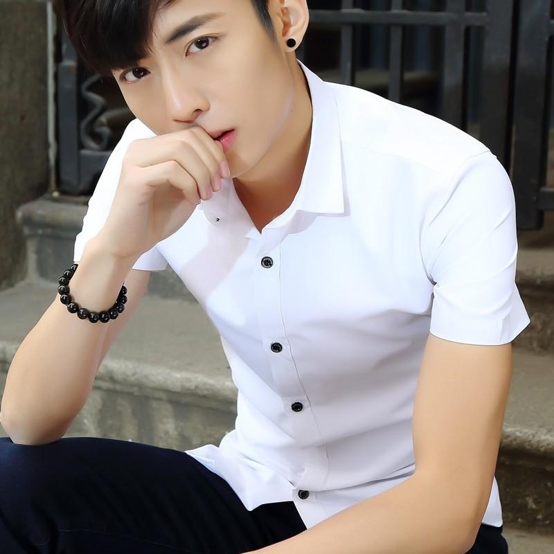 男裝 短袖襯衫 修身男士純色半袖襯衣免燙寸衫POLO 衫短袖上衣短袖襯衫短袖T 恤連帽衫