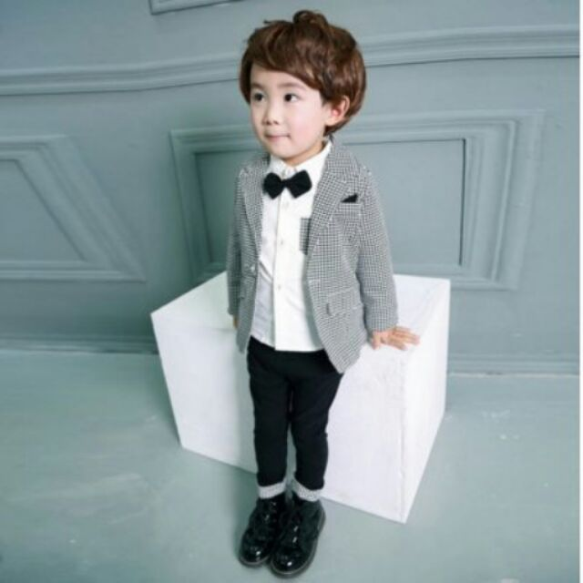 {WWS }男童西裝兒童寶寶套裝小童 兩件套組千鳥紋格花童表演服正式服禮服藝術沙龍拍照紳士