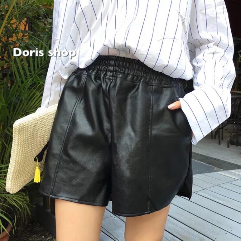 超顯瘦鬆緊腰PU 皮短褲顯瘦PU 皮短褲闊腿褲皮褲皮短褲