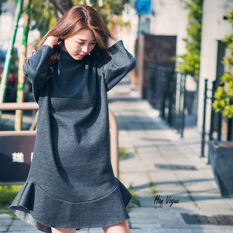 正韓魚尾滾邊下擺純色寬版洋裝保暖內刷毛共3 色韓衣風格