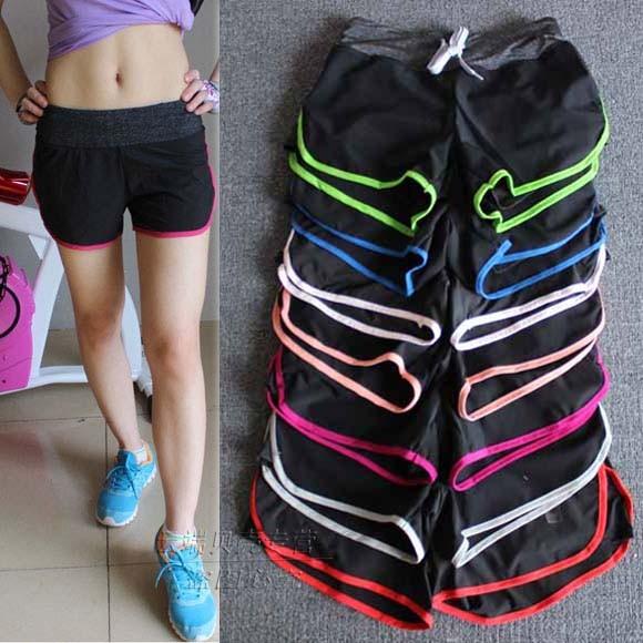 短褲女健身跑步馬拉松速干抽繩黑色寬松外搭3 分褲有內襯