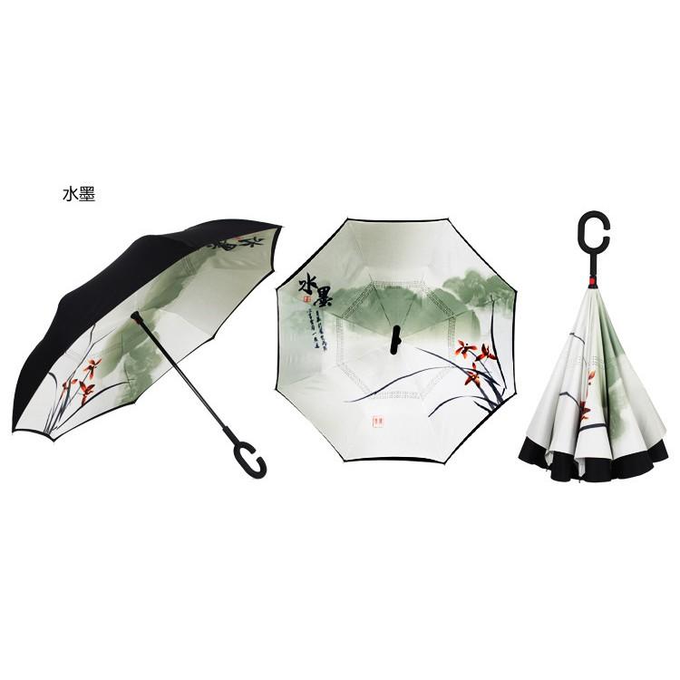 免持雙層反向傘反轉上收傘直桿汽車廣告傘不濕傘防風雨傘外翻傘C 柄