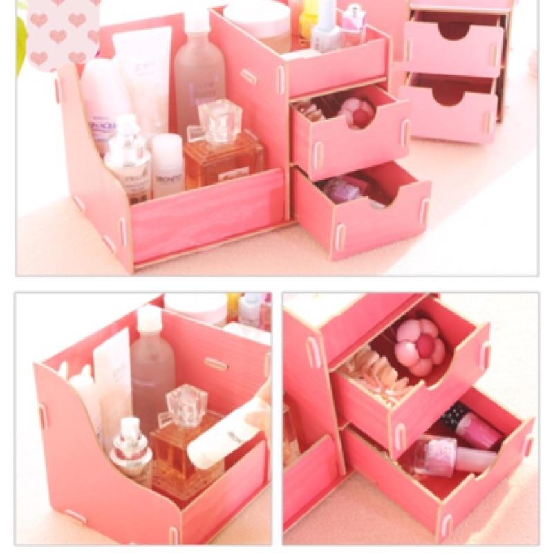 ✨晴麻麻✨愛心雙抽屜DIY 木質化妝品收納盒