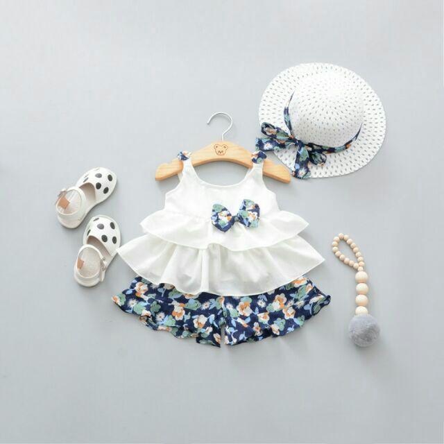 碎花吊帶短褲套裝含帽子女嬰女童套裝兩件式細肩帶背心上衣無袖褲子洋裝