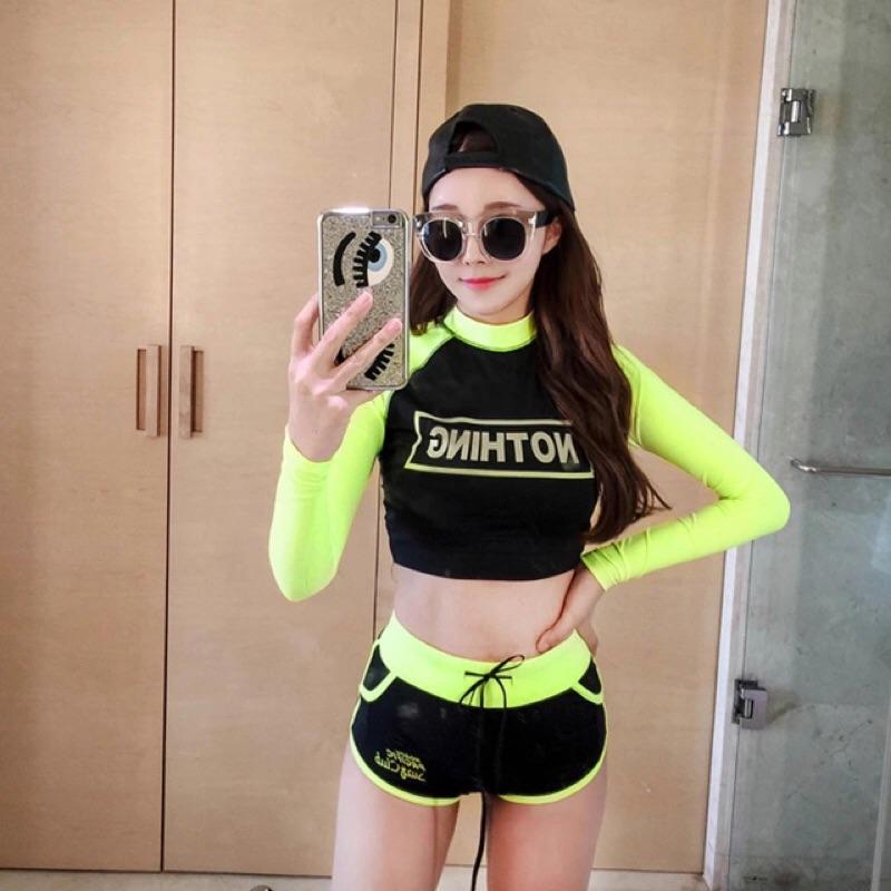 韓國氣質黑色清新分體平角長袖防曬保守高領修身顯瘦溫泉游泳衣女