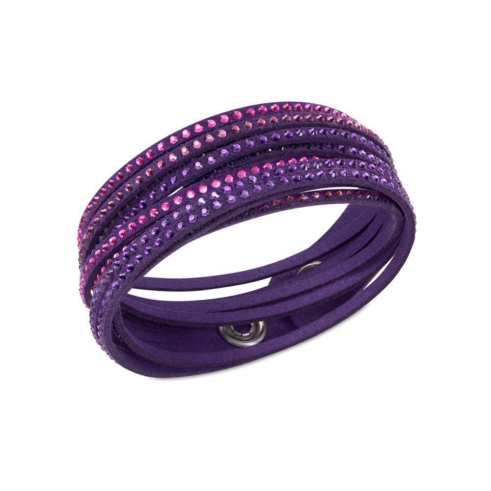 SWAROVSKI 施華洛世奇5021027 紫色月光手鍊雙圈手環三色漸層水晶項圈手環二用