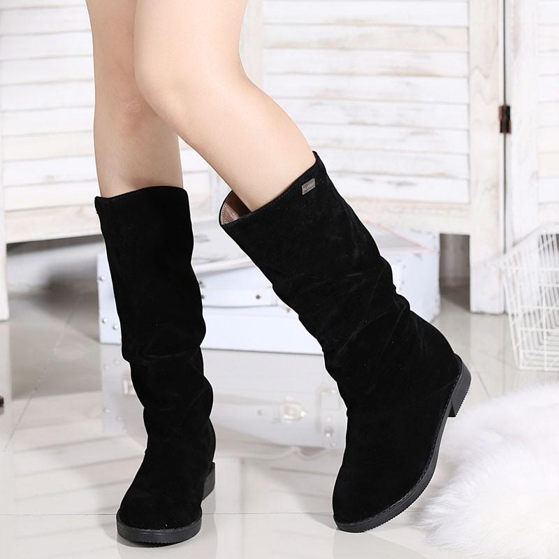 ♛♛♛♛♛♛n 百搭磨砂女式內增高中筒靴圓頭中跟短靴子秋馬丁靴英倫風女款中靴