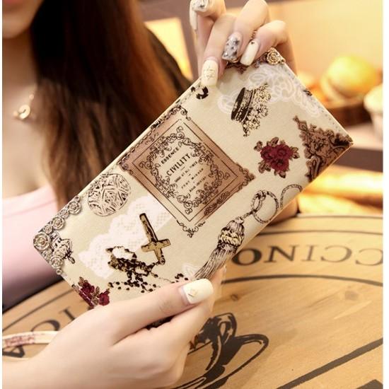 可放5 7 吋手機 長款錢包拉鍊印花手機包可爱小清新手拿包女士長夾手拎包