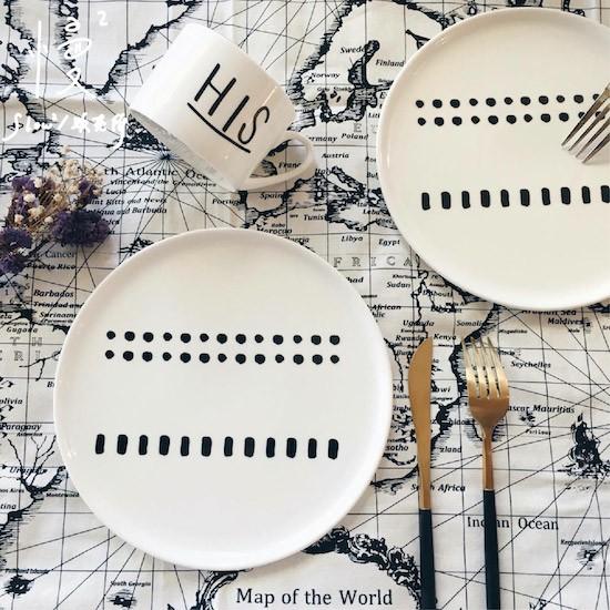 ~ ~ZAKKA 雜貨餐盤盤子極簡北歐黑與白 雙排點點陶瓷淺盤西餐盤沙拉盤