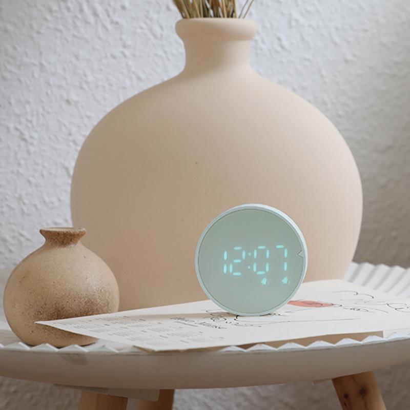 小夜燈 鬧鐘 檯燈 簡約隨心計計時鬧鐘雙溫電子鐘廚房計時器時鐘圓款磁吸壁掛鬧鐘