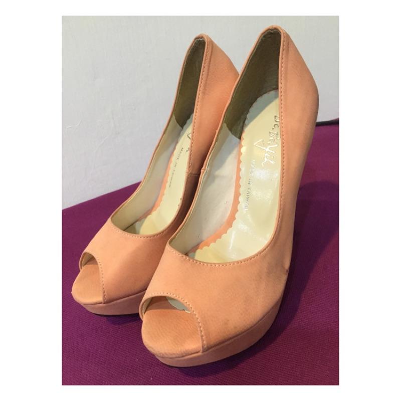 魚嘴高跟鞋細跟防水台夜店性感單鞋粉紅玫紅色