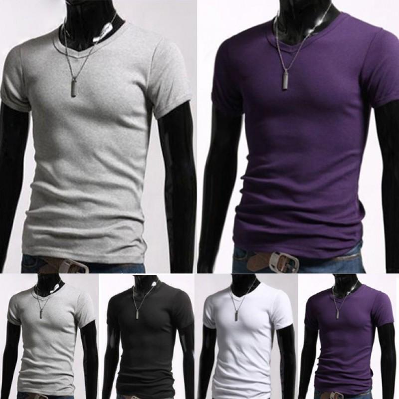 男士 休閒V 領短袖修身T shirt
