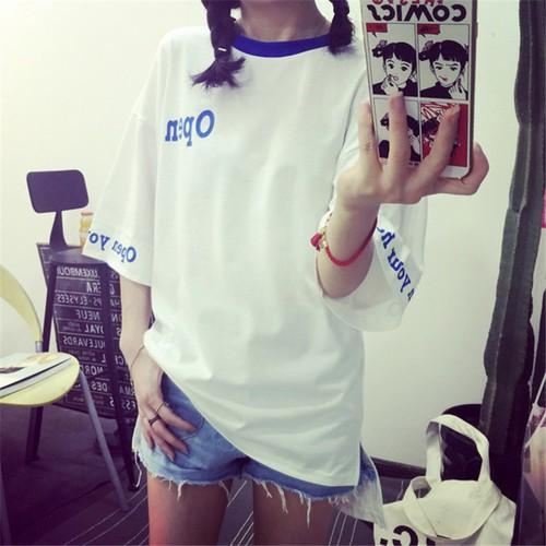 跑量超 更划算~大量 ~~小YO 韓系 衣館~韓系短袖上衣寬鬆OPEN 前短後長
