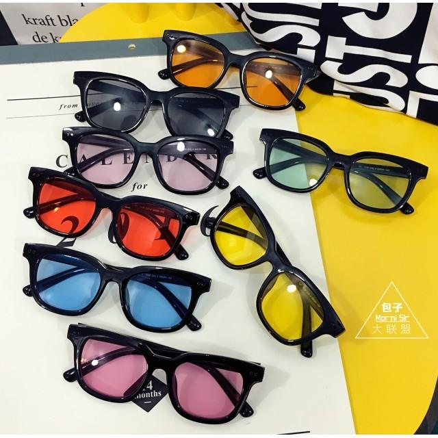 ~寶貝鋪~眼鏡~韓國潮流彩色透明眼鏡原宿 方框墨鏡復古百搭男女情侶太陽鏡