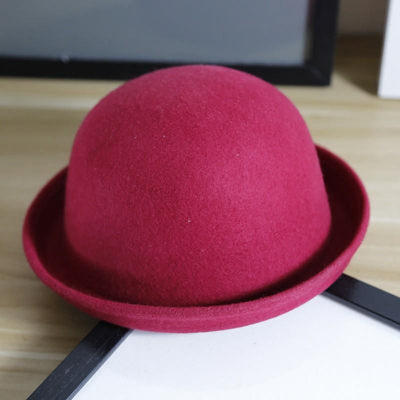 天仿羊毛呢圓頂帽子女英倫親子爵士帽兒童可愛卷邊小禮帽