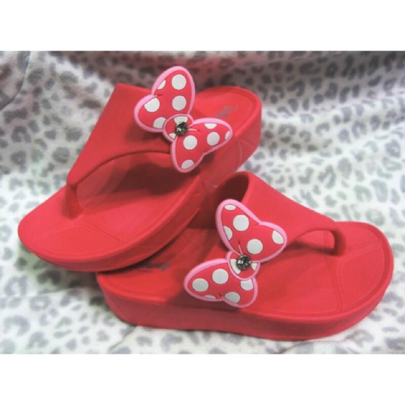 超 迪士尼米妮桃紅蝴蝶結鑲鑽夾腳拖鞋17cm