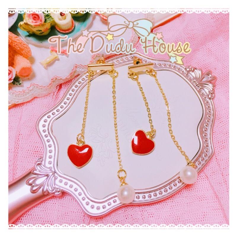 DUDU の手作日系甜美氣質紅心珍珠流蘇耳環