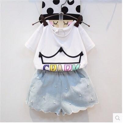 2016 夏裝 女童套裝皇冠流蘇短袖T 恤珍珠短褲兩件套