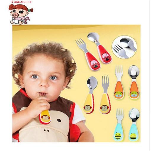 美國動物園多色不銹鋼叉子勺子刀叉套裝兒童寶寶餐具不含BPA