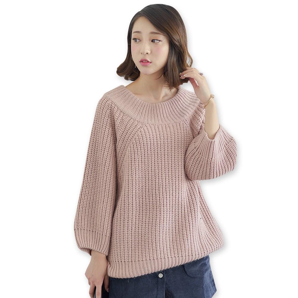 A013 女裝純色毛衣女套頭插肩袖圓領寬鬆羊毛衣