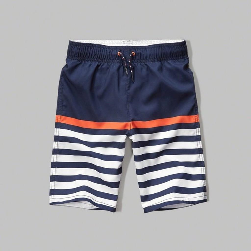Abercrombie Fitch 藍白橫條休閒款式,美國麋鹿夏天 海灘褲衝浪褲~A F