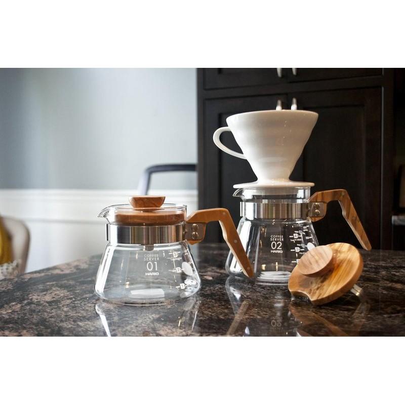 ~沐湛咖啡~HARIO V60 橄欖木咖啡壺600ml VCWN 60 OV 耐熱玻璃下座