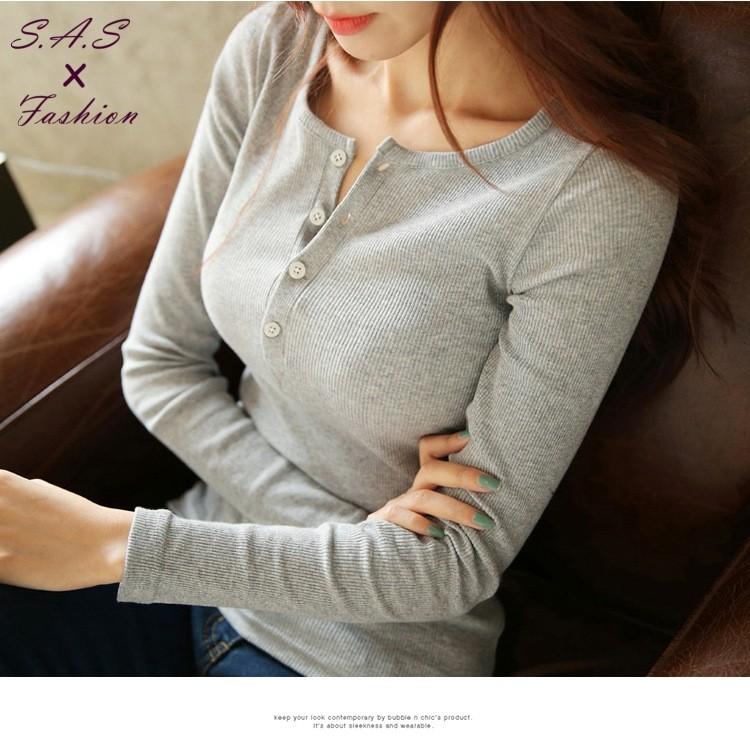 S A S ✨禦寒毛衣✨休閒寬鬆顯瘦百搭長袖中長款薄款針織衫 款四釦打底衫上衣寬鬆T